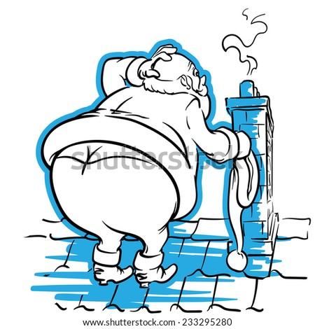 Fat Santa is confused about getting into the narrow chimney. EPS8 vector illustration. - stock vector