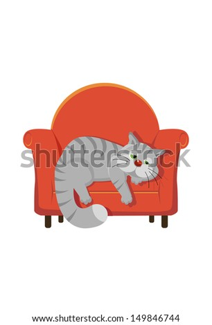 fat tabby cat lying on a chair - stock vector