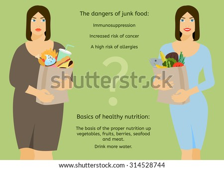 Fat woman and a slender woman on a light green background. Lifestyle choice. - stock vector