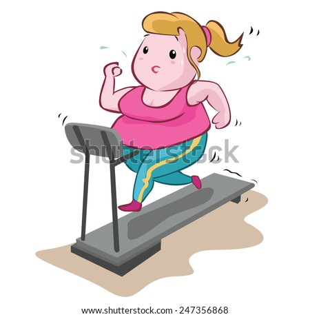 Fat Woman Fitness - stock vector