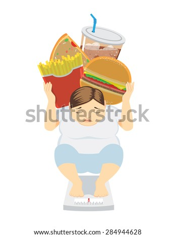 Fat Woman have weight gone up because her like eat junk food, health care concept - stock vector