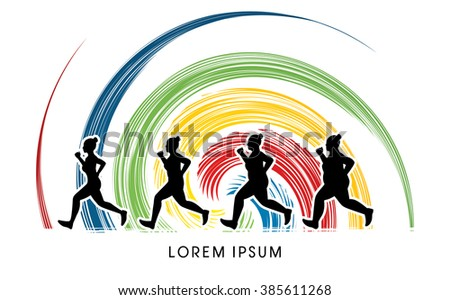 Fat woman turning into Thin designed on spin wheel background graphic vector. - stock vector