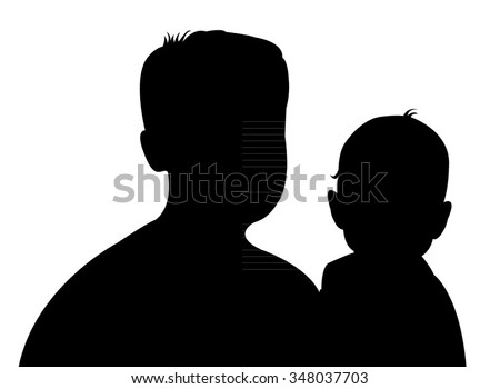 father and baby daughter together, silhouette vector