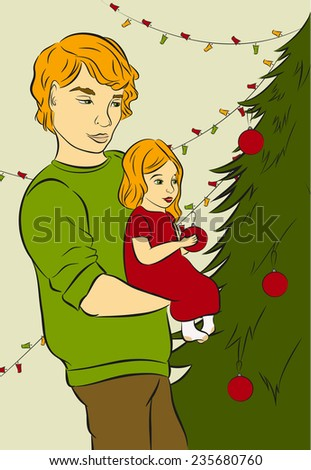 Father and  daughter decorate a Christmas tree. Retro color.(eps.8) - stock vector
