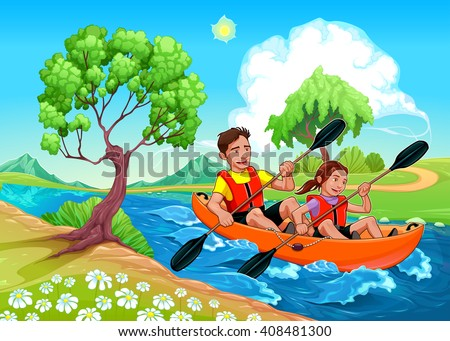 Father and daughter on the kayak in the river - stock vector