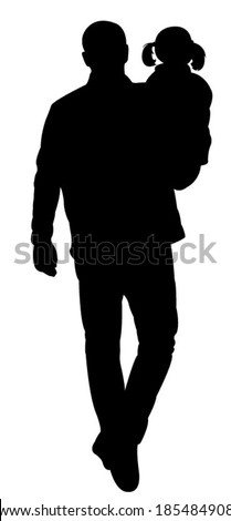 father and daughter together, walking, back of them, silhouette vector  - stock vector