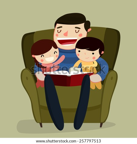 father and kids reading. family reading. cartoon characters. vector illustration