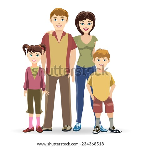 Father and mother, son and daughter. Portrait of four member family posing together happy smiling. Vector and illustration - stock vector