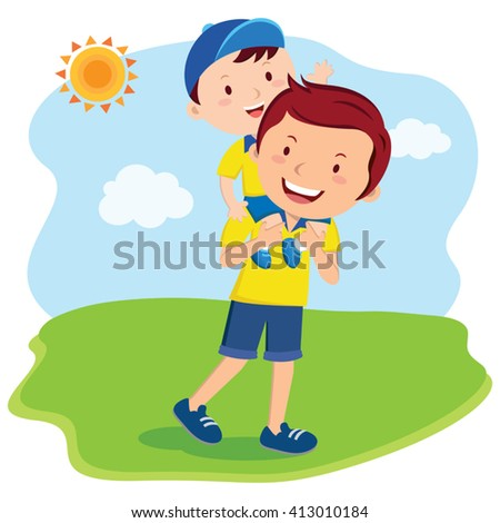 Father and son bonding time. Father and child fun in the sunny day. - stock vector