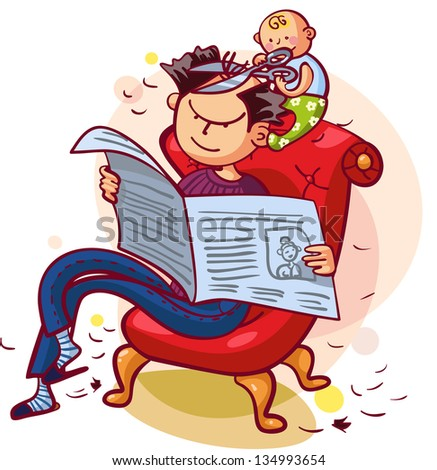 Father and son having fun together. Father is reading newspaper, son is making his father a new hairstyle - stock vector