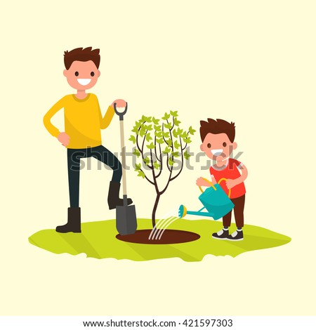 Father and son planting a tree. Vector illustration of a flat design - stock vector
