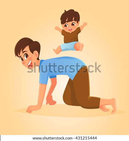 Father and son play horse riding game, Vector illustration. - stock vector