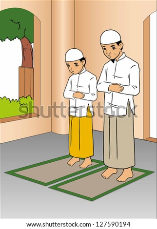 Father and son praying in mosque - stock vector