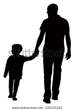 father and son walking silhouette vector