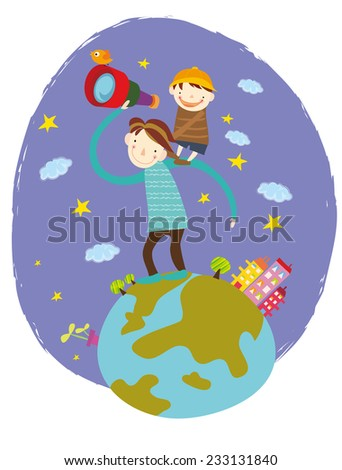 Father and son watching through telescope - stock vector