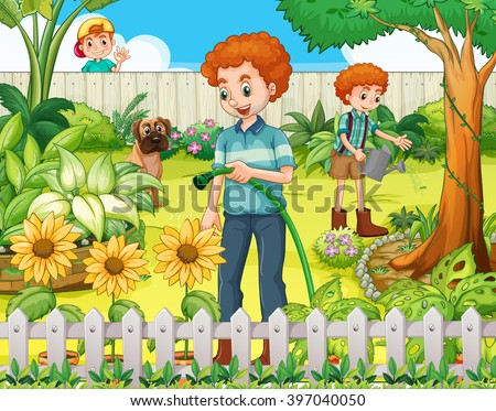 Father and son watering the plants in the garden illustration - stock vector