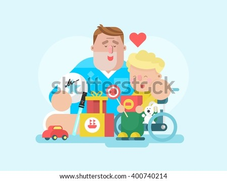 Father and son with toys - stock vector