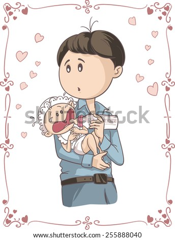Father Feeding Crying Baby Vector Cartoon - Illustration of young man holding his child  - stock vector