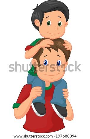 Father giving his son piggyback ride - stock vector