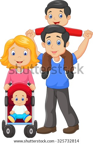 Father giving his son piggyback ride with mother pushing baby carriage - stock vector