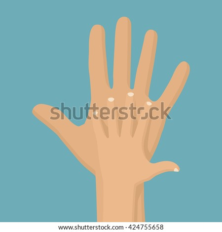 Father holding baby in the palm of his hand. Symbol of parental love and care. Happy Fathers day. Vector illustration flat design. Child gives his father's hand.