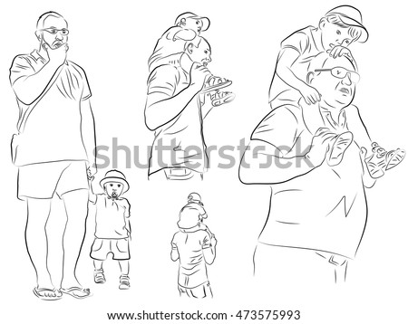 Father holds child on his shoulders walking with a child holding a child by