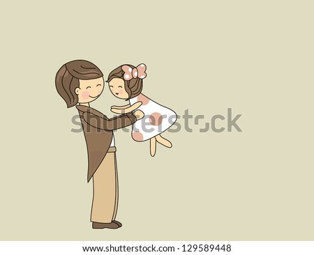 father hugging his little daughter - stock vector