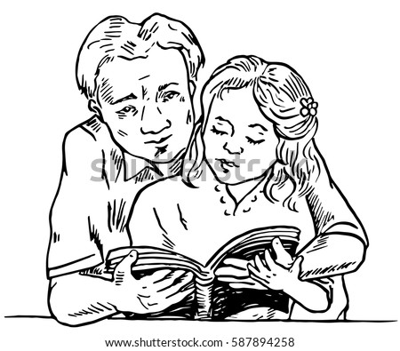 Father learning daughter to read, holding book together, hand drawn doodle, sketch in pop art style, vector illustration