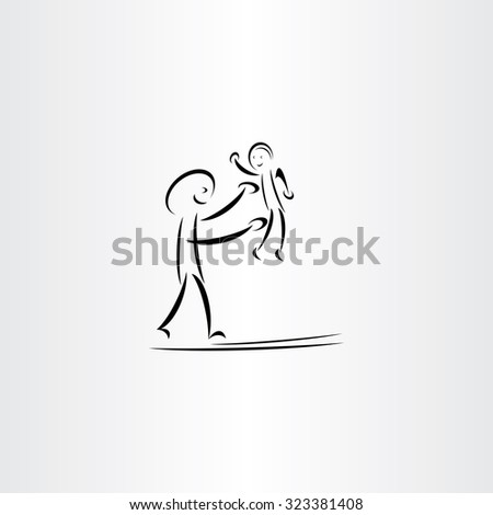 father man play with child vector drawing symbol