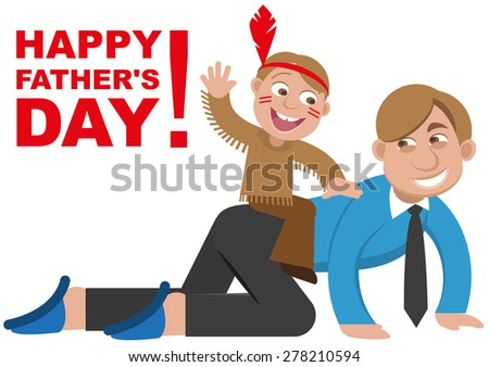Father playing with his son in the Indians. Isolated illustration in vector format - stock vector