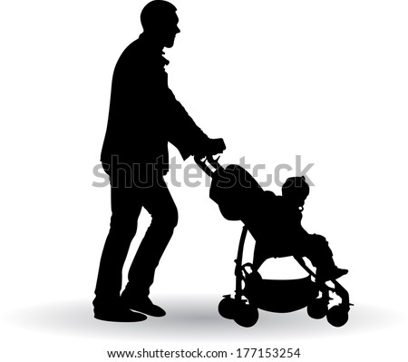 father pushing a pram with a baby vector illustration - stock vector