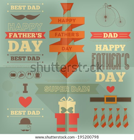 Father's Day Card. Flat Design. Retro Style. Vector Illustration. - stock vector