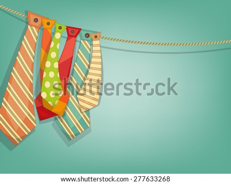 Father's Day Card with Set of Ties on Blue Background with Place for Text. Vector Illustration. - stock vector