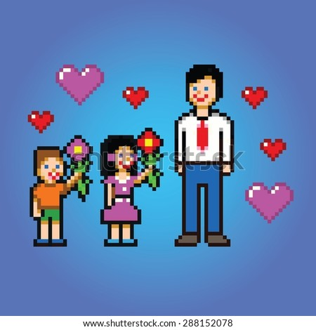 Father's day celebration - pixel art style vector illustration - stock vector