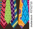 Father's Day Colorful Ties - stock vector