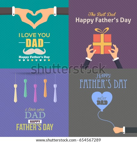 Fathers day greeting card typographic text stock vector 654567289 fathers day greeting card typographic text flat style badge vector design announcement and celebration m4hsunfo