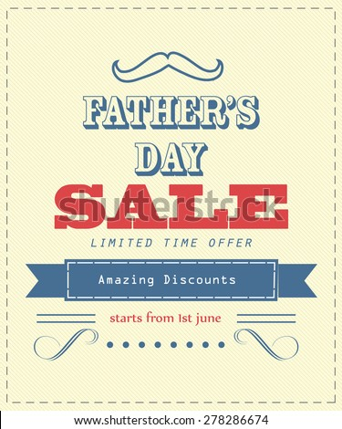 Father's Day Sale . Typographical poster,flyer background - stock vector