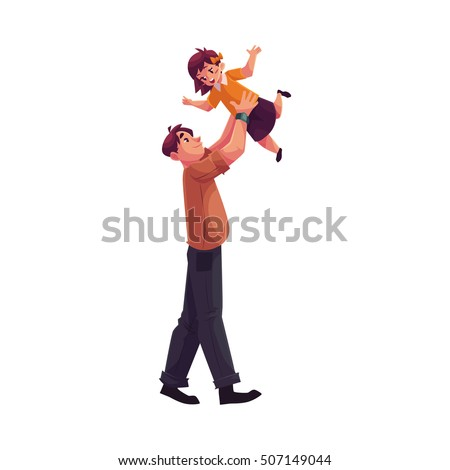 Father throwing his daughter into air, cartoon vector illustrations isolated on white background. Dad throwing his little daughter up and catching her. Young handsome father playing with his kid