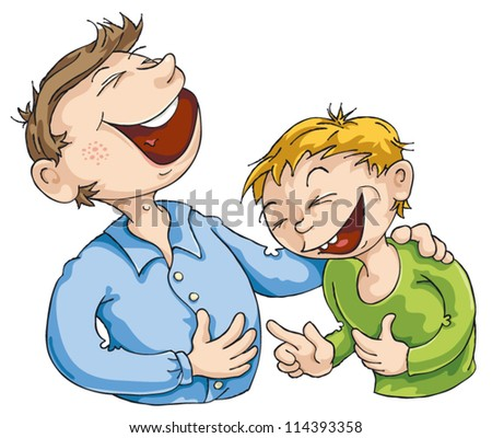 Father told a funny story to his son. - stock vector