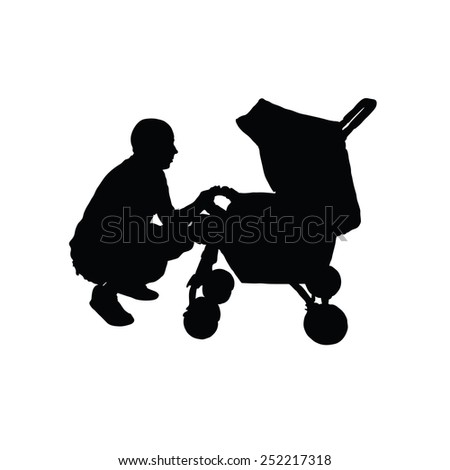 father with a baby carriage vector - stock vector