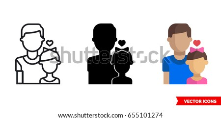 Father with a daughter icon of 3 types: color, black and white, outline. Isolated vector sign symbol. Father love daughter.