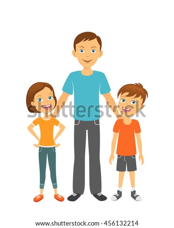 Father with children. Happy family.  Dad with kids - stock vector