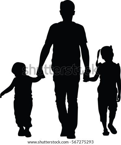father with kids vector silhouette illustration isolated on white background dad and two child walking