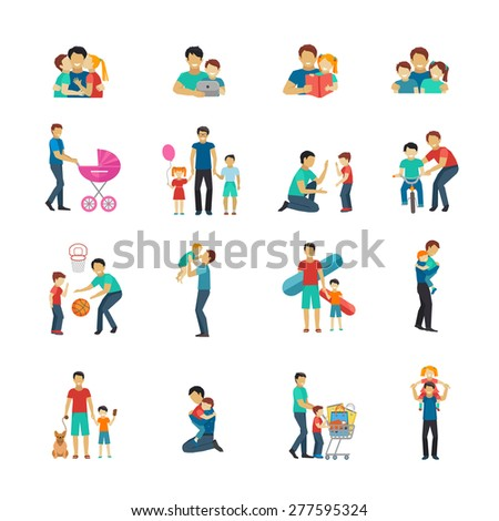Fatherhood flat icons set with father playing with children isolated vector illustration - stock vector