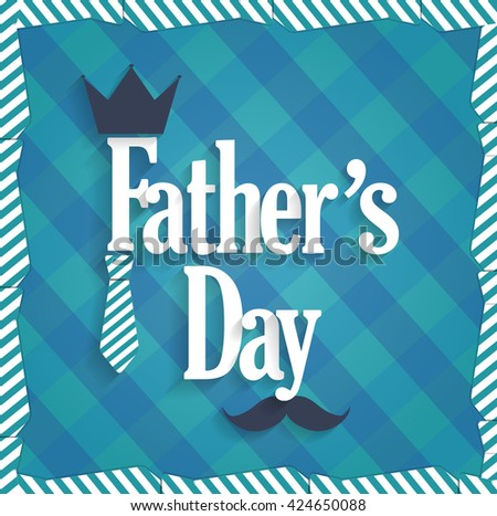 Fathers Day blue poster. Cloth background with ties. Vector illustration - stock vector