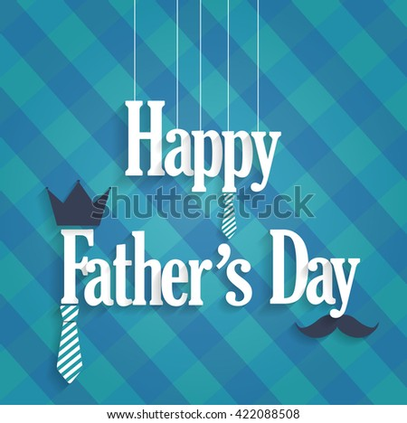 Fathers Day blue poster with hanging text. Cloth background. Vector illustration. - stock vector