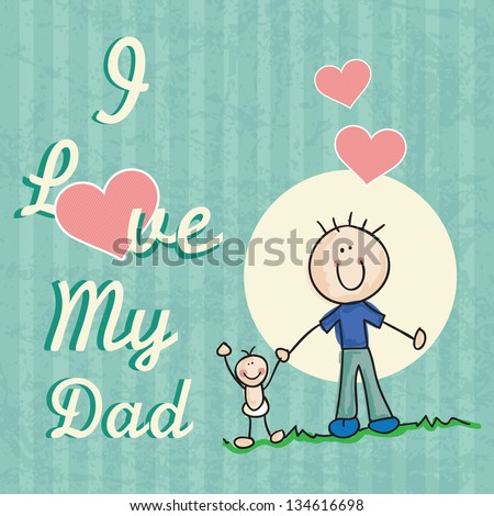 Fathers Day Icons and Cards ( Concepts) Vector illustration - stock vector