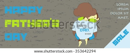 Fathers day sale banner design. One of a set - holidays banners. Can be used for flyers, banners or posters. Vector illustration with cute hand drawn monkey.