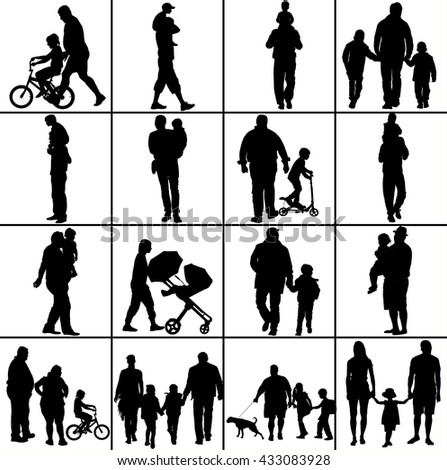 Fathers day set, group of family people vector silhouette illustration isolated on white background. - stock vector