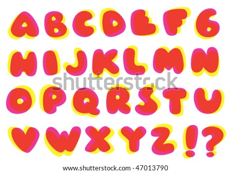 Fatty, funky typography. Just the uppercases. Vector illustration with global colors.